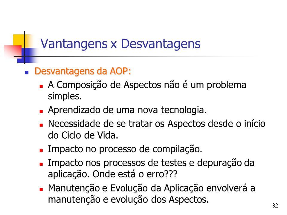 32 Vantangens x Desvantagens Desvantagens da AOP: Desvantagens da AOP: A Composição de Aspectos não é um problema simples. Aprendizado de uma nova tec