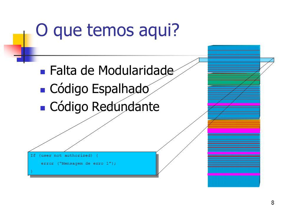 8 O que temos aqui? Falta de Modularidade Código Espalhado Código Redundante If (user not authorized) { error (Mensagem de erro 1); }