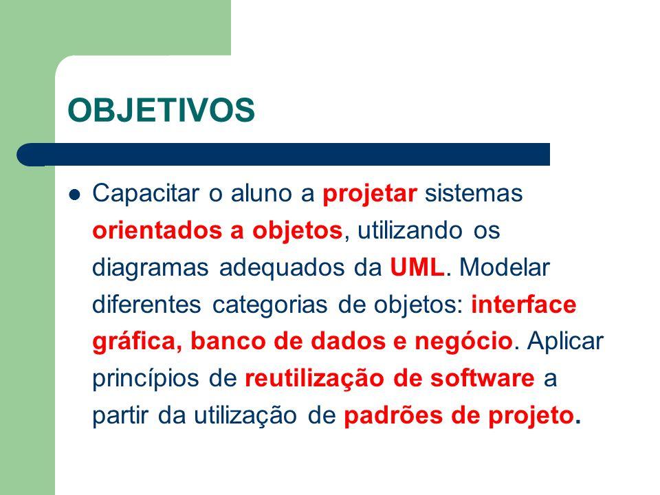 OBJETIVOS Capacitar o aluno a projetar sistemas orientados a objetos, utilizando os diagramas adequados da UML. Modelar diferentes categorias de objet