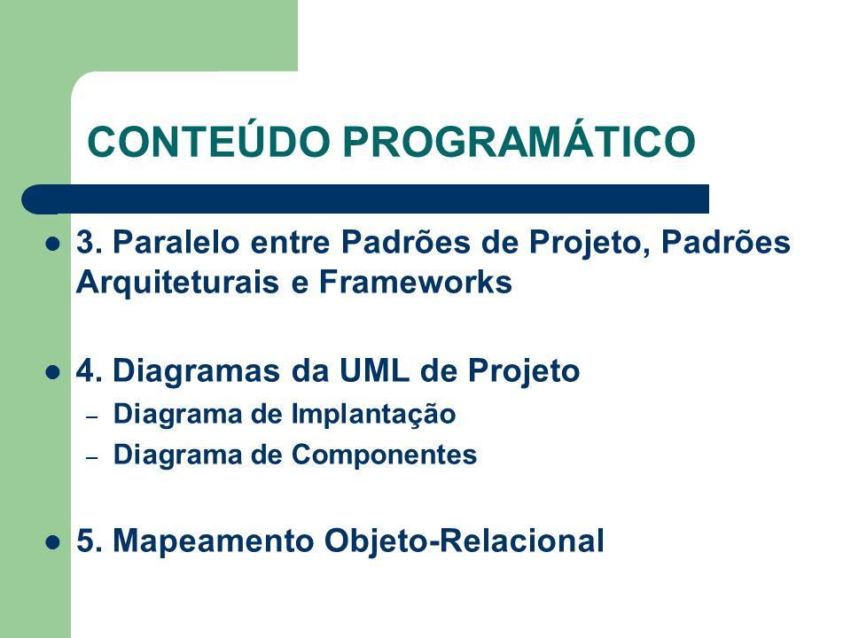 CONTEÚDO PROGRAMÁTICO 3. Paralelo entre Padrões de Projeto, Padrões Arquiteturais e Frameworks 4. Diagramas da UML de Projeto – Diagrama de Implantaçã