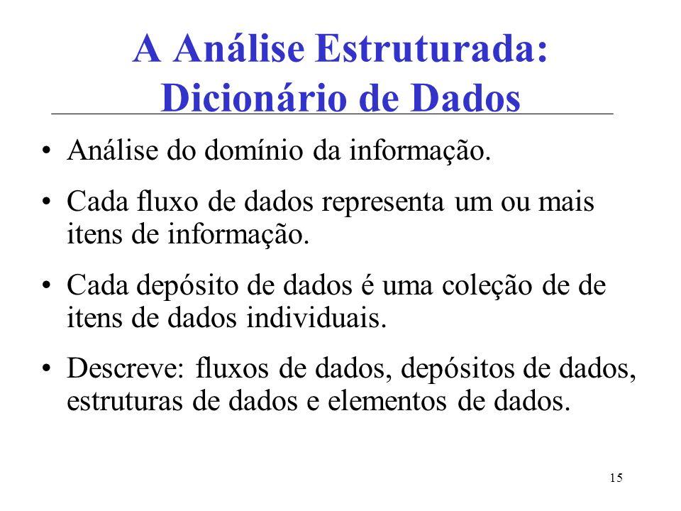 15 A Análise Estruturada: Dicionário de Dados Análise do domínio da informação. Cada fluxo de dados representa um ou mais itens de informação. Cada de