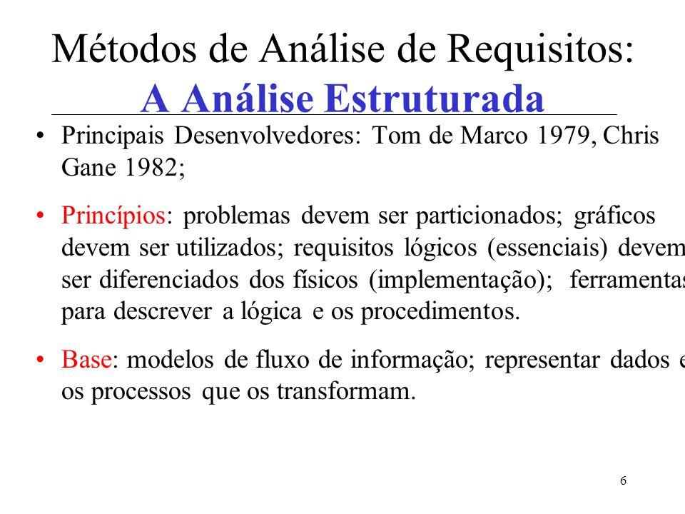 6 Métodos de Análise de Requisitos: A Análise Estruturada Principais Desenvolvedores: Tom de Marco 1979, Chris Gane 1982; Princípios: problemas devem