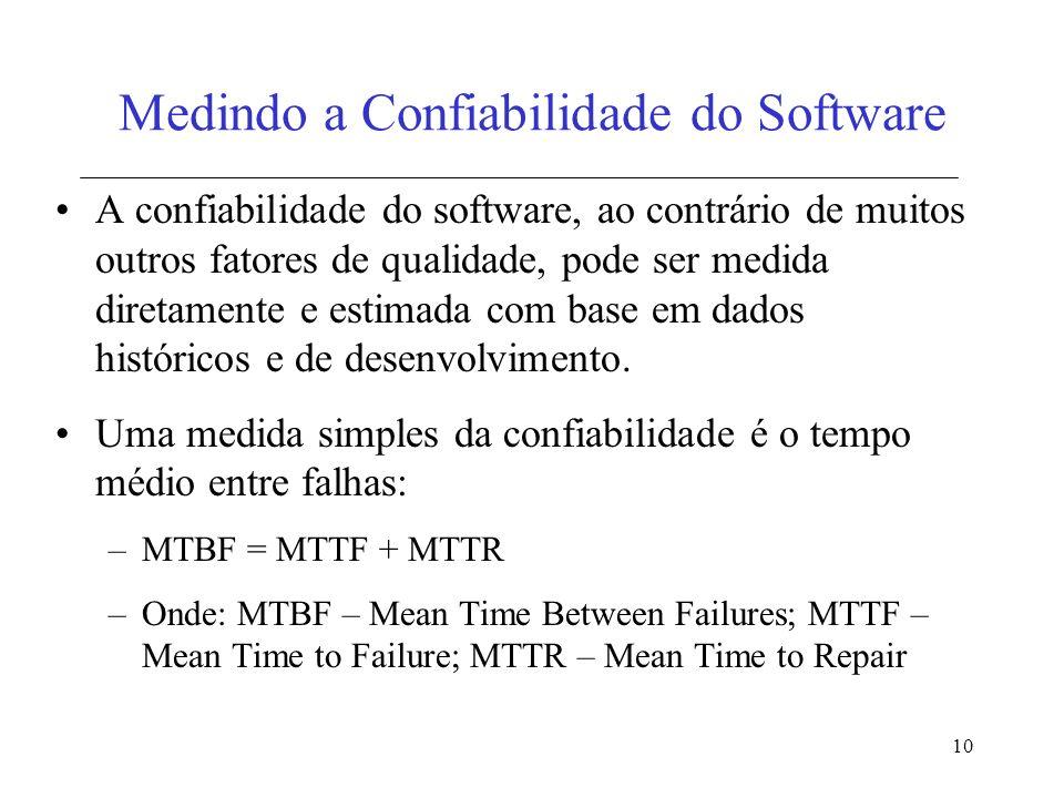 10 Medindo a Confiabilidade do Software A confiabilidade do software, ao contrário de muitos outros fatores de qualidade, pode ser medida diretamente e estimada com base em dados históricos e de desenvolvimento.