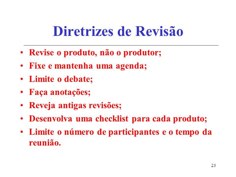 23 Diretrizes de Revisão Revise o produto, não o produtor; Fixe e mantenha uma agenda; Limite o debate; Faça anotações; Reveja antigas revisões; Desenvolva uma checklist para cada produto; Limite o número de participantes e o tempo da reunião.