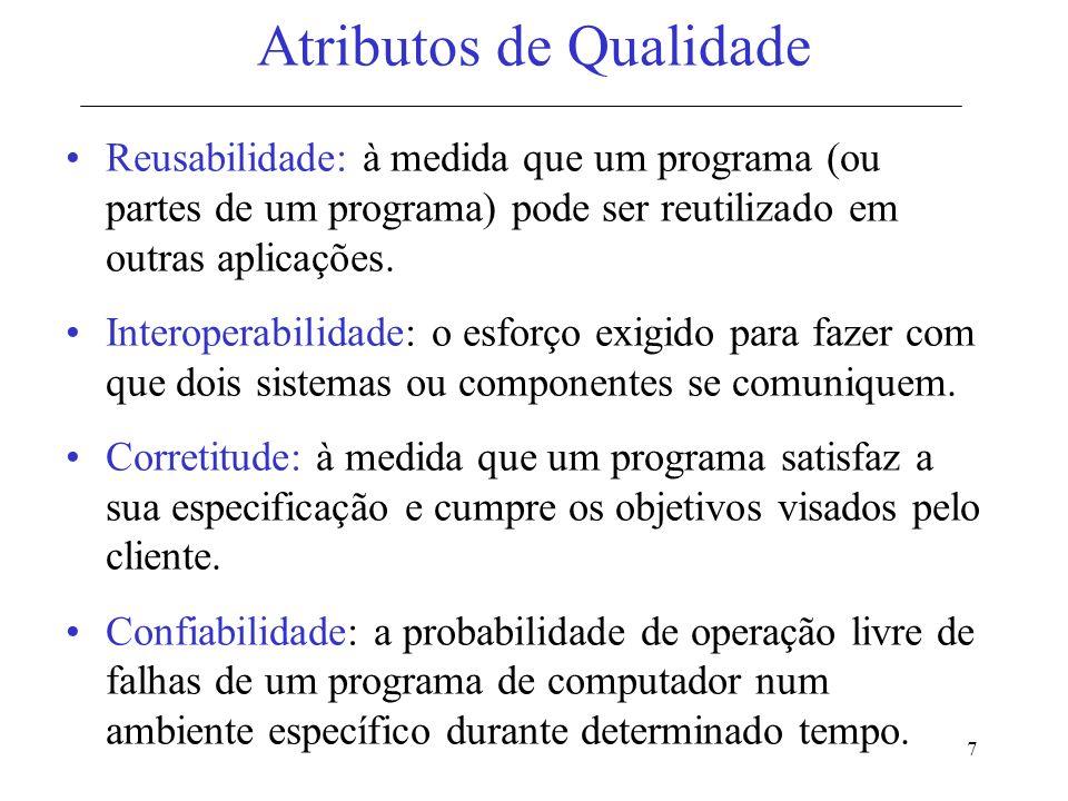 8 Atributos de Qualidade Eficiência: a quantidade de recursos de computação e de código exigida para que um programa execute a sua função.