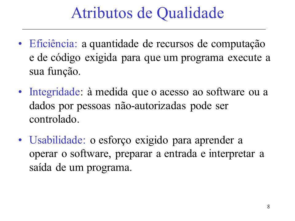 9 Medição dos Atributos de Qualidade Representam, em sua maioria, medidas indiretas do software.