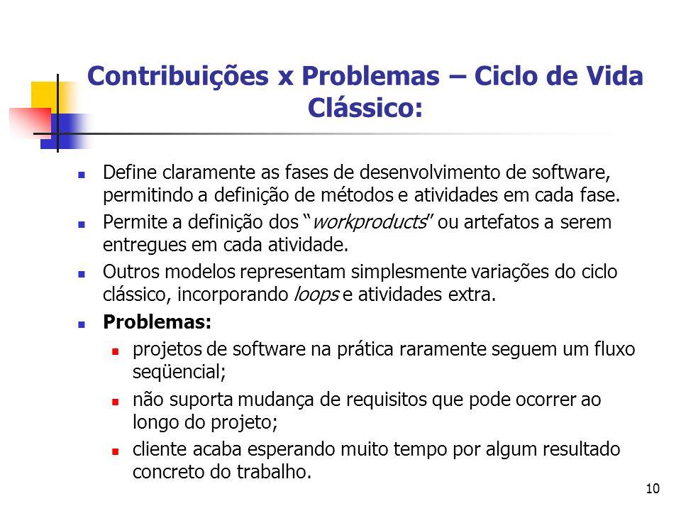 10 Contribuições x Problemas – Ciclo de Vida Clássico: Define claramente as fases de desenvolvimento de software, permitindo a definição de métodos e
