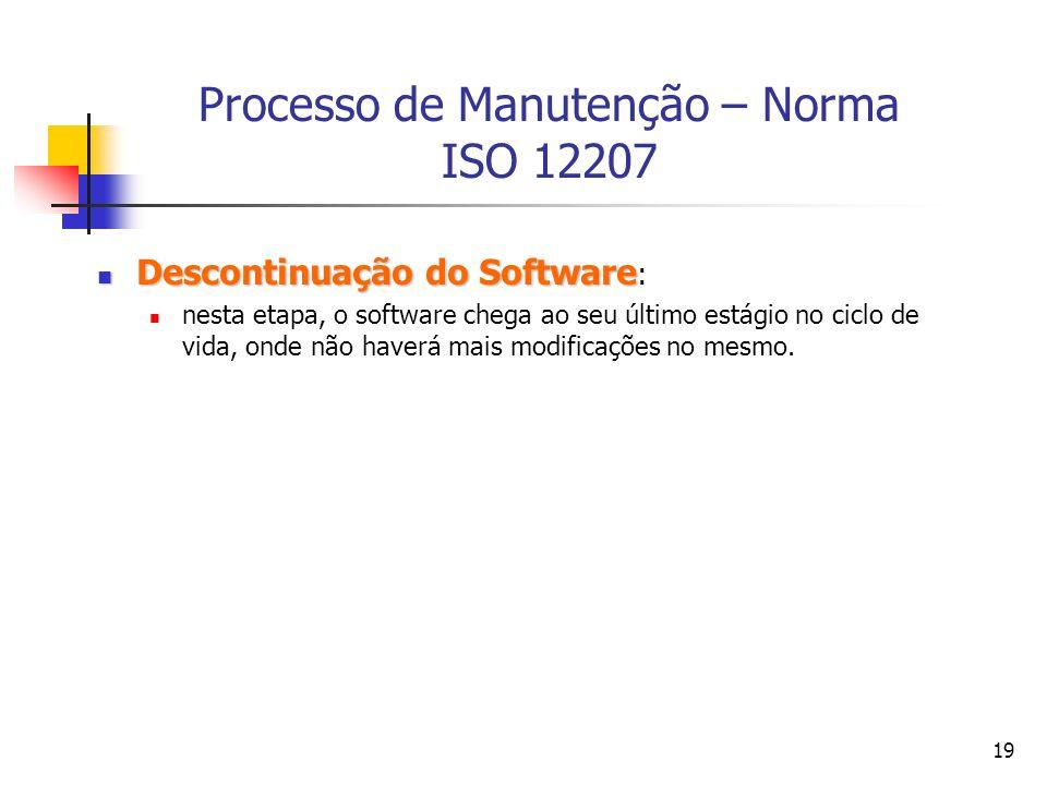 19 Processo de Manutenção – Norma ISO 12207 Descontinuação do Software Descontinuação do Software : nesta etapa, o software chega ao seu último estági