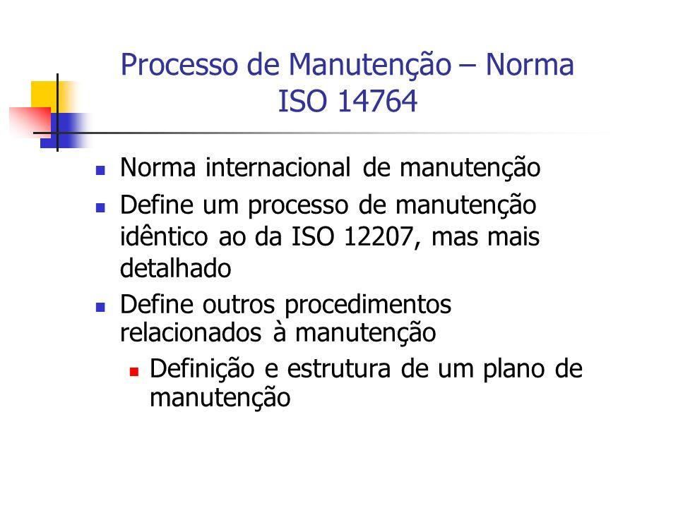 Processo de Manutenção – Norma ISO 14764 Norma internacional de manutenção Define um processo de manutenção idêntico ao da ISO 12207, mas mais detalha