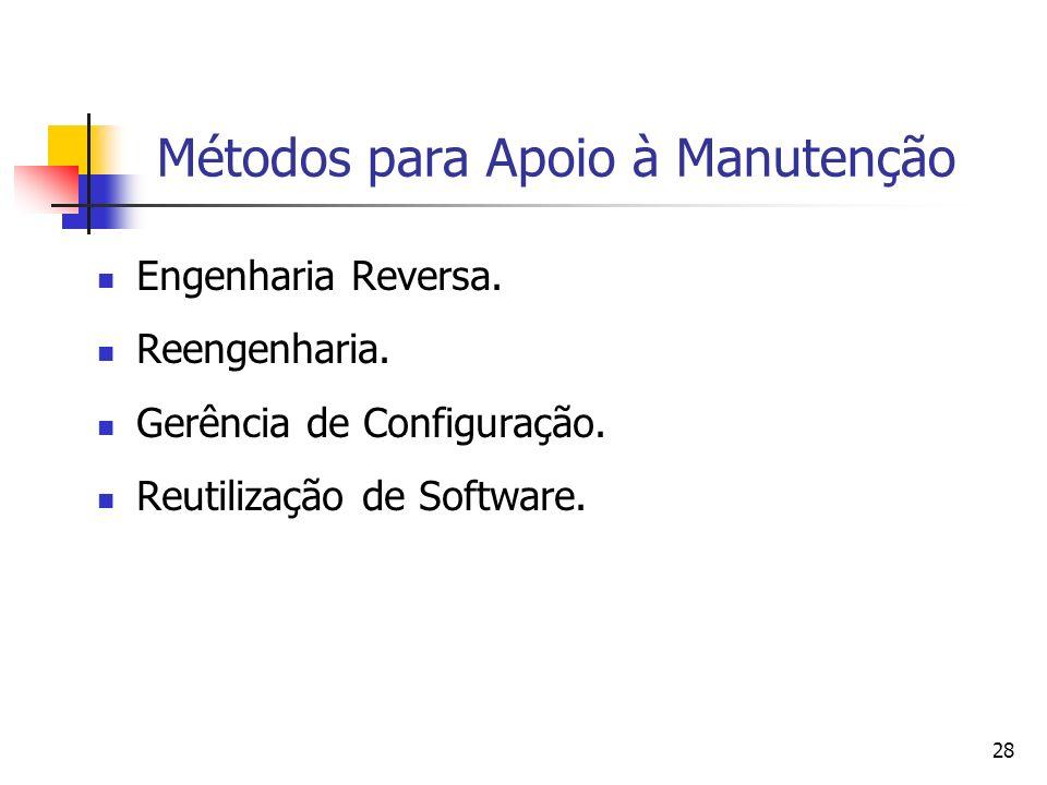 28 Métodos para Apoio à Manutenção Engenharia Reversa. Reengenharia. Gerência de Configuração. Reutilização de Software.