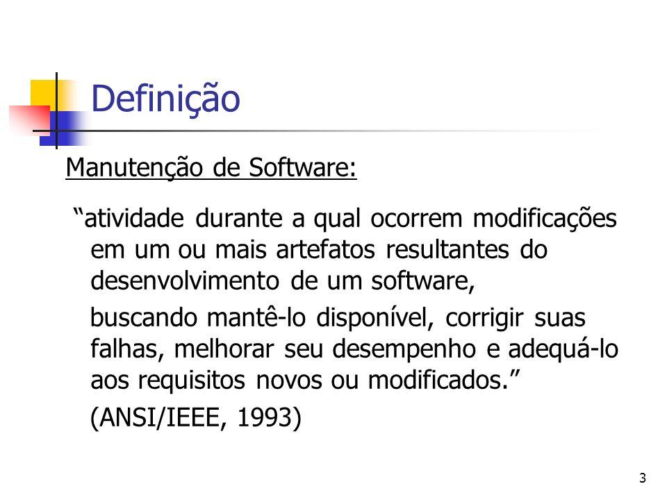 3 Definição Manutenção de Software: atividade durante a qual ocorrem modificações em um ou mais artefatos resultantes do desenvolvimento de um softwar