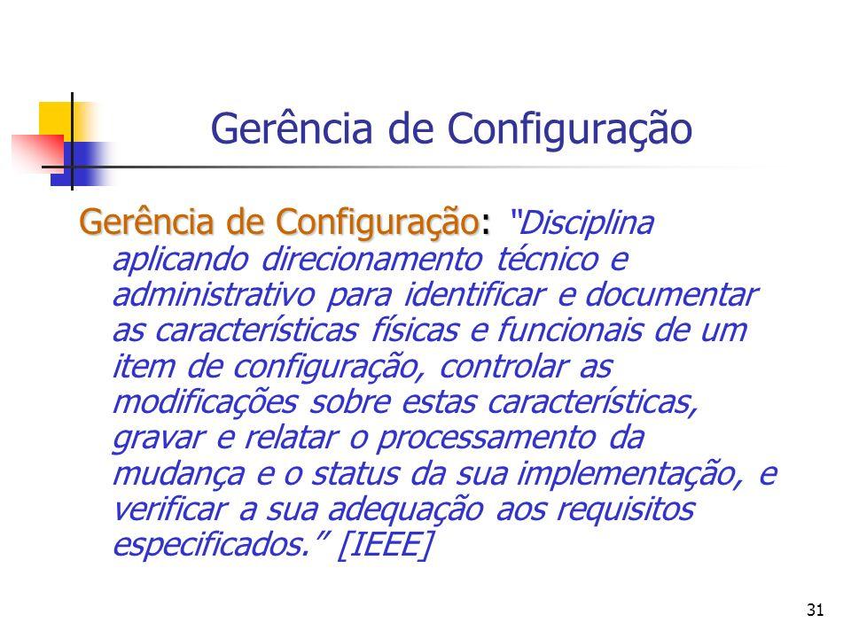 31 Gerência de Configuração Gerência de Configuração: Gerência de Configuração: Disciplina aplicando direcionamento técnico e administrativo para iden
