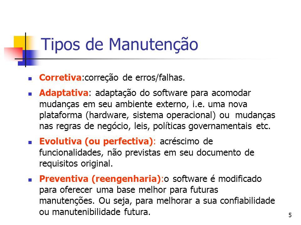 5 Tipos de Manutenção Corretiva:correção de erros/falhas. Adaptativa: adaptação do software para acomodar mudanças em seu ambiente externo, i.e. uma n
