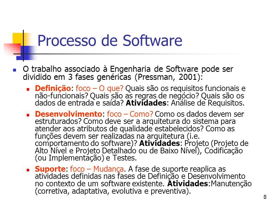 8 Processo de Software O trabalho associado à Engenharia de Software pode ser dividido em 3 fases genéricas (Pressman, 2001): Definição: foco – O que?