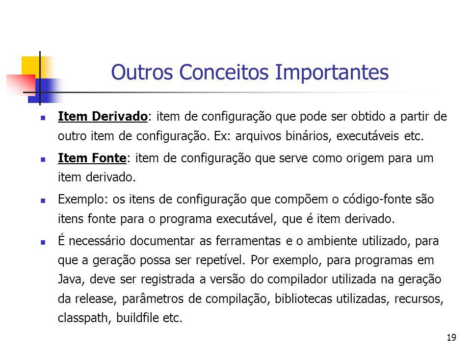 19 Outros Conceitos Importantes Item Derivado: item de configuração que pode ser obtido a partir de outro item de configuração. Ex: arquivos binários,