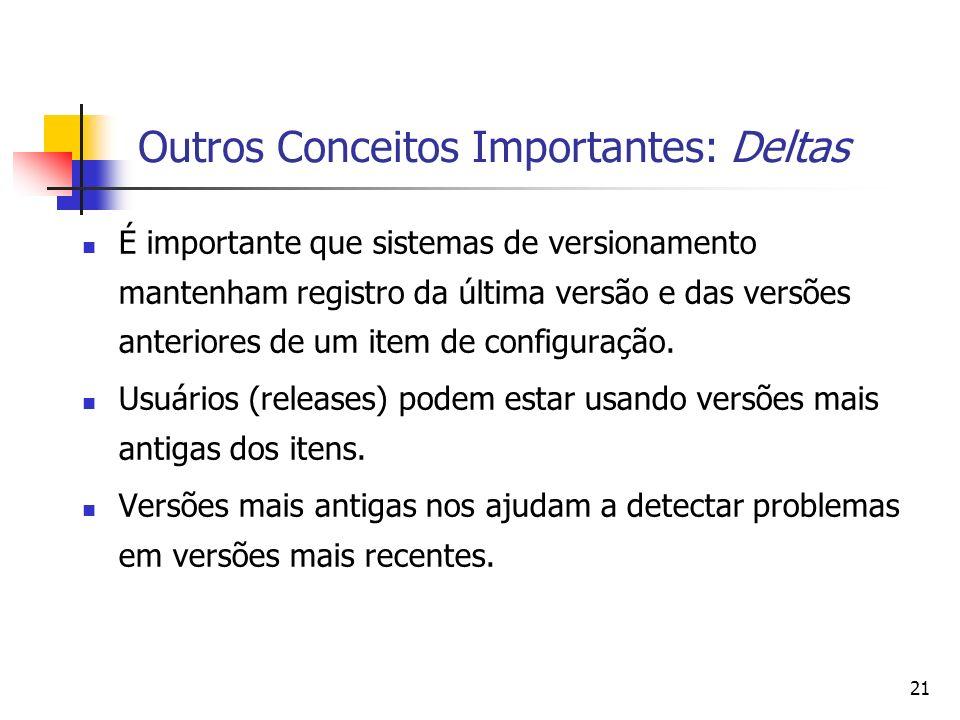 21 Outros Conceitos Importantes: Deltas É importante que sistemas de versionamento mantenham registro da última versão e das versões anteriores de um