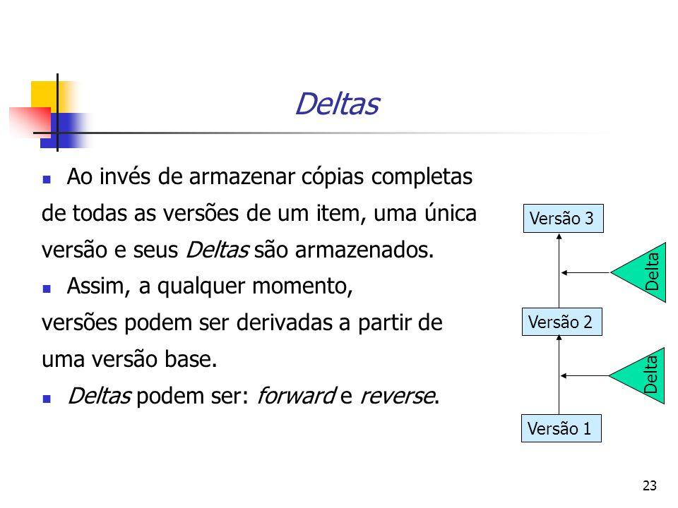 23 Deltas Ao invés de armazenar cópias completas de todas as versões de um item, uma única versão e seus Deltas são armazenados. Assim, a qualquer mom
