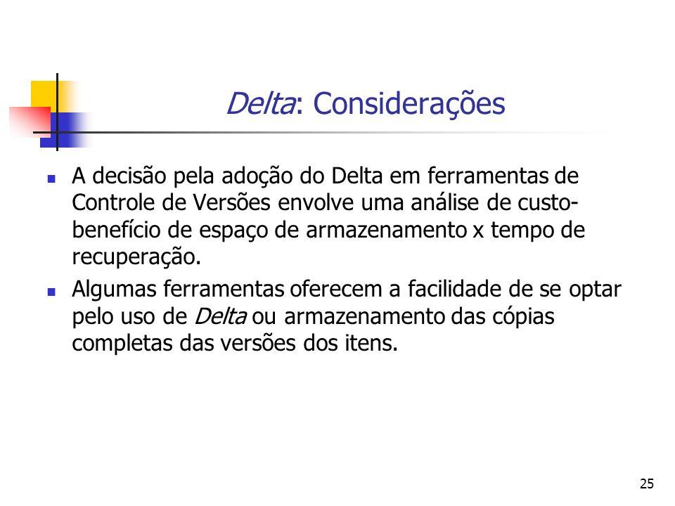 25 Delta: Considerações A decisão pela adoção do Delta em ferramentas de Controle de Versões envolve uma análise de custo- benefício de espaço de arma