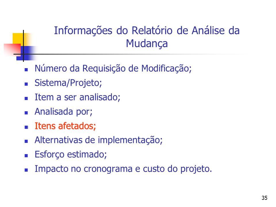 35 Informações do Relatório de Análise da Mudança Número da Requisição de Modificação; Sistema/Projeto; Item a ser analisado; Analisada por; Itens afe