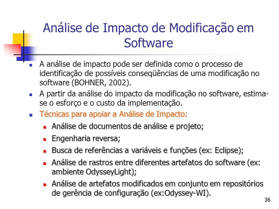 36 Análise de Impacto de Modificação em Software A análise de impacto pode ser definida como o processo de identificação de possíveis conseqüências de