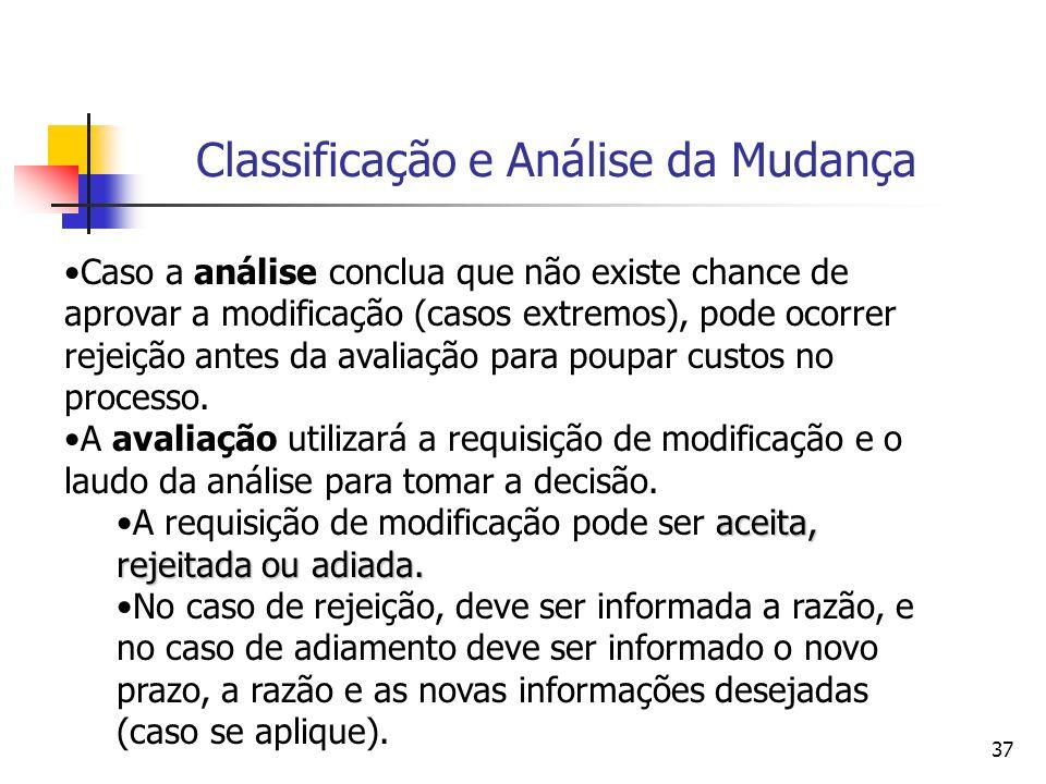 37 Classificação e Análise da Mudança Caso a análise conclua que não existe chance de aprovar a modificação (casos extremos), pode ocorrer rejeição an