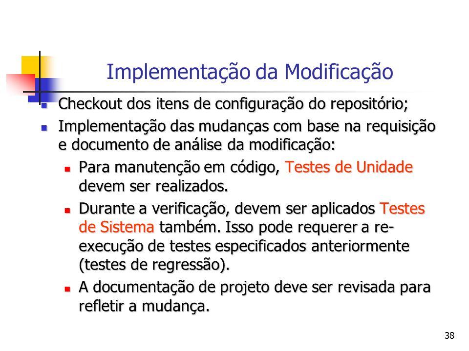 38 Implementação da Modificação Checkout dos itens de configuração do repositório; Checkout dos itens de configuração do repositório; Implementação da