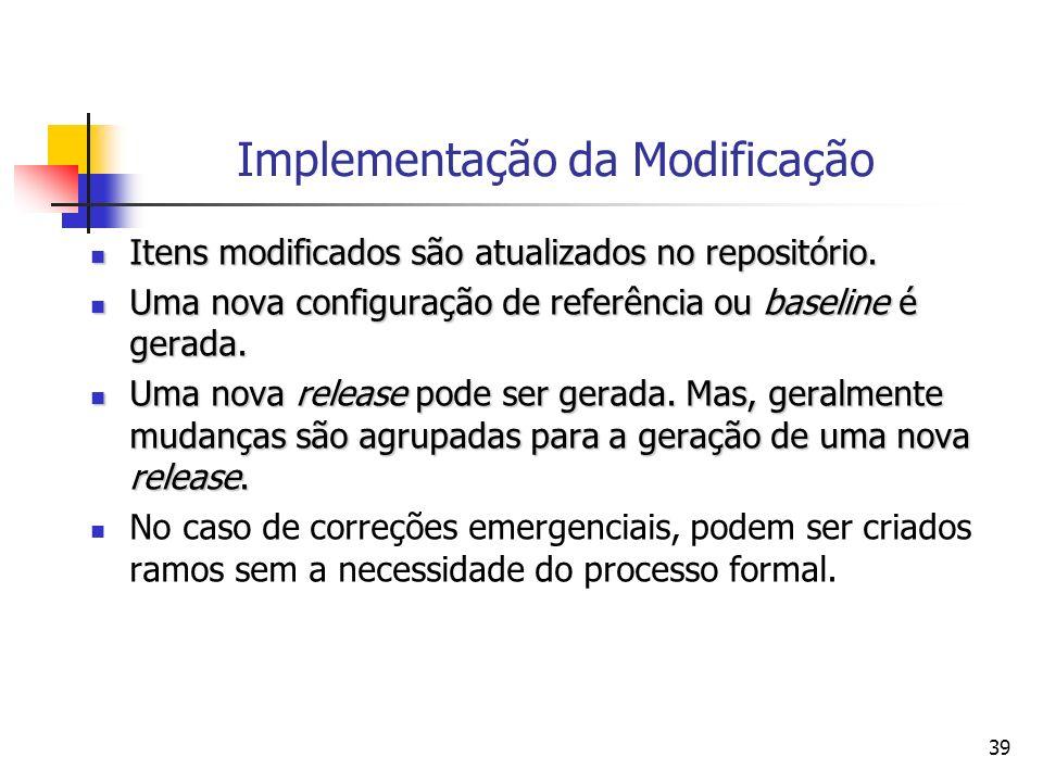 39 Implementação da Modificação Itens modificados são atualizados no repositório. Itens modificados são atualizados no repositório. Uma nova configura