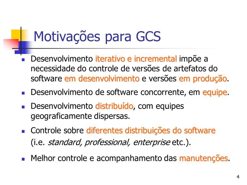 4 Motivações para GCS iterativo e incremental em desenvolvimentoem produção Desenvolvimento iterativo e incremental impõe a necessidade do controle de