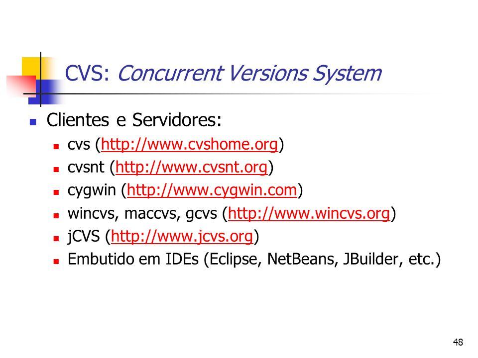 48 CVS: Concurrent Versions System Clientes e Servidores: cvs (http://www.cvshome.org)http://www.cvshome.org cvsnt (http://www.cvsnt.org)http://www.cv