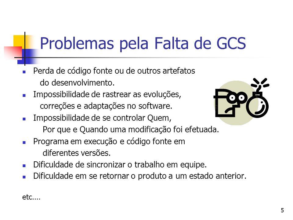 5 Problemas pela Falta de GCS Perda de código fonte ou de outros artefatos do desenvolvimento. Impossibilidade de rastrear as evoluções, correções e a