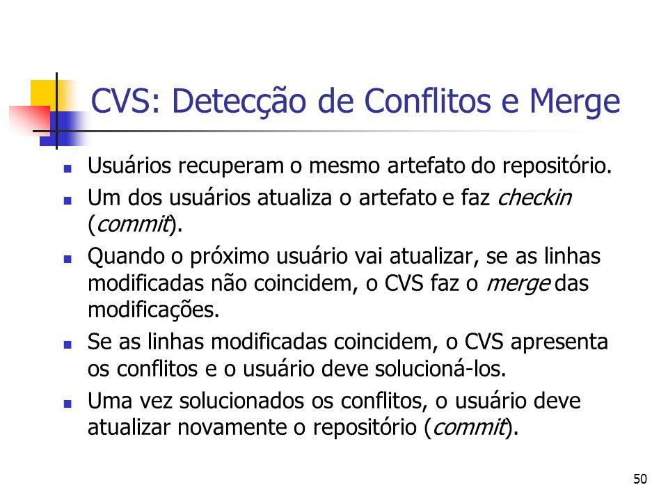 50 CVS: Detecção de Conflitos e Merge Usuários recuperam o mesmo artefato do repositório. Um dos usuários atualiza o artefato e faz checkin (commit).