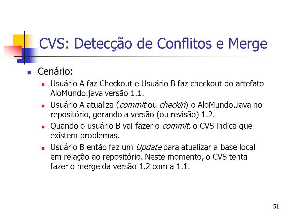 51 CVS: Detecção de Conflitos e Merge Cenário: Usuário A faz Checkout e Usuário B faz checkout do artefato AloMundo.java versão 1.1. Usuário A atualiz