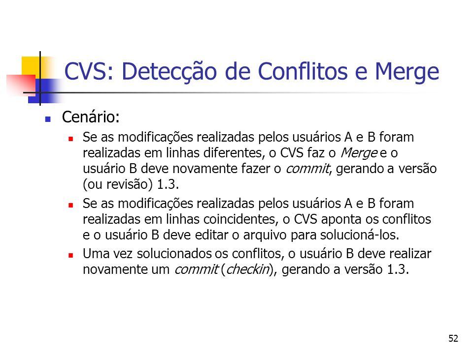 52 CVS: Detecção de Conflitos e Merge Cenário: Se as modificações realizadas pelos usuários A e B foram realizadas em linhas diferentes, o CVS faz o M