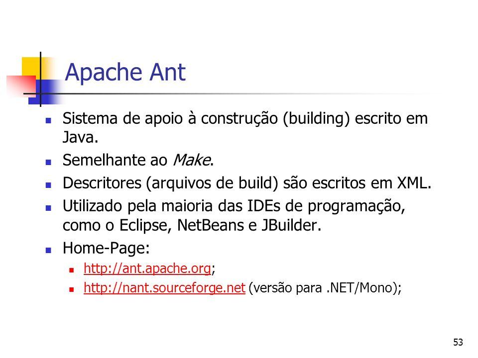 53 Apache Ant Sistema de apoio à construção (building) escrito em Java. Semelhante ao Make. Descritores (arquivos de build) são escritos em XML. Utili