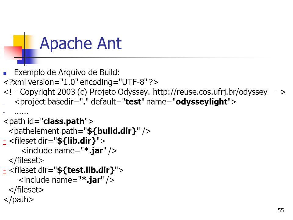 55 Apache Ant Exemplo de Arquivo de Build: - -...... - -