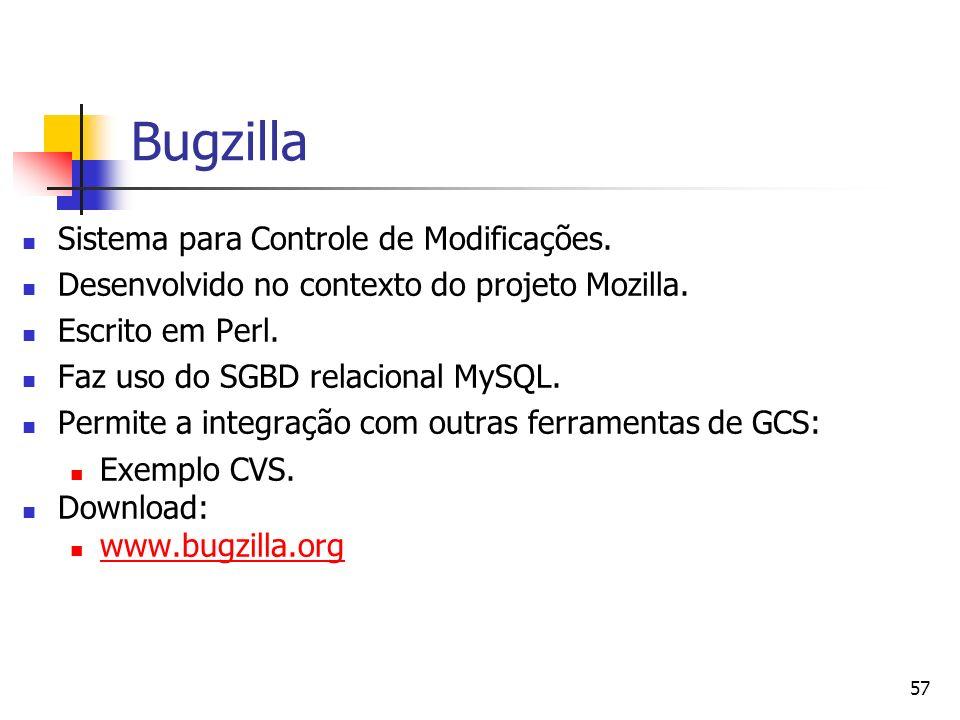 57 Bugzilla Sistema para Controle de Modificações. Desenvolvido no contexto do projeto Mozilla. Escrito em Perl. Faz uso do SGBD relacional MySQL. Per