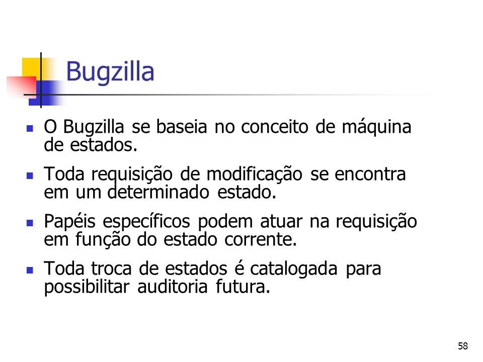58 Bugzilla O Bugzilla se baseia no conceito de máquina de estados. Toda requisição de modificação se encontra em um determinado estado. Papéis especí