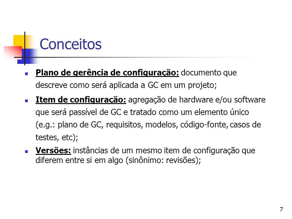 7 Plano de gerência de configuração: documento que descreve como será aplicada a GC em um projeto; Item de configuração: agregação de hardware e/ou so