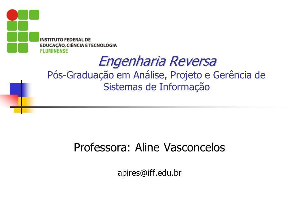 Engenharia Reversa Engenharia Reversa Pós-Graduação em Análise, Projeto e Gerência de Sistemas de Informação Professora: Aline Vasconcelos apires@iff.edu.br
