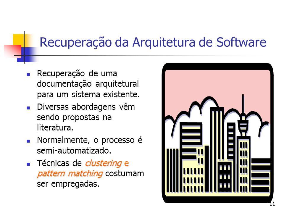 11 Recuperação da Arquitetura de Software Recuperação de uma documentação arquitetural para um sistema existente.