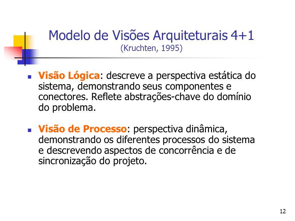 12 Modelo de Visões Arquiteturais 4+1 (Kruchten, 1995) Visão Lógica: descreve a perspectiva estática do sistema, demonstrando seus componentes e conectores.