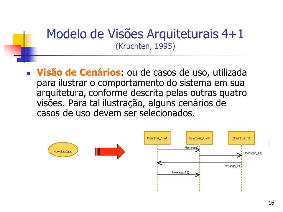 16 Modelo de Visões Arquiteturais 4+1 (Kruchten, 1995) Visão de Cenários: ou de casos de uso, utilizada para ilustrar o comportamento do sistema em sua arquitetura, conforme descrita pelas outras quatro visões.