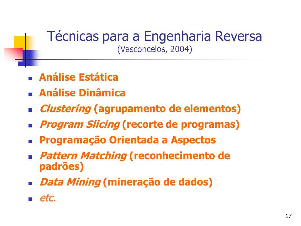 17 Técnicas para a Engenharia Reversa (Vasconcelos, 2004) Análise Estática Análise Dinâmica Clustering (agrupamento de elementos) Program Slicing (recorte de programas) Programação Orientada a Aspectos Pattern Matching (reconhecimento de padrões) Data Mining (mineração de dados) etc.