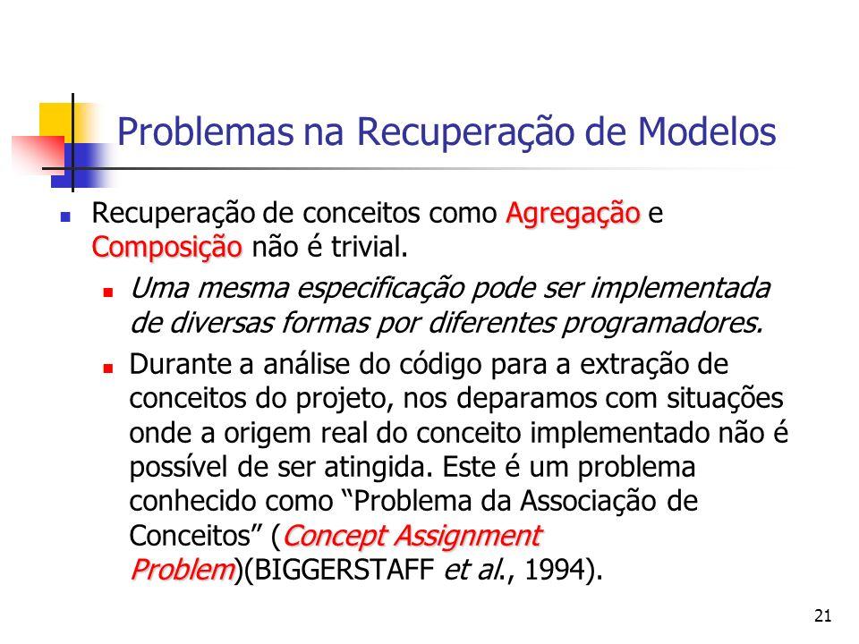 21 Problemas na Recuperação de Modelos Agregação Composição Recuperação de conceitos como Agregação e Composição não é trivial.