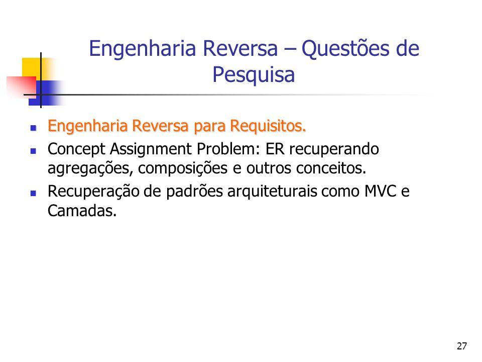 27 Engenharia Reversa – Questões de Pesquisa Engenharia Reversa para Requisitos.