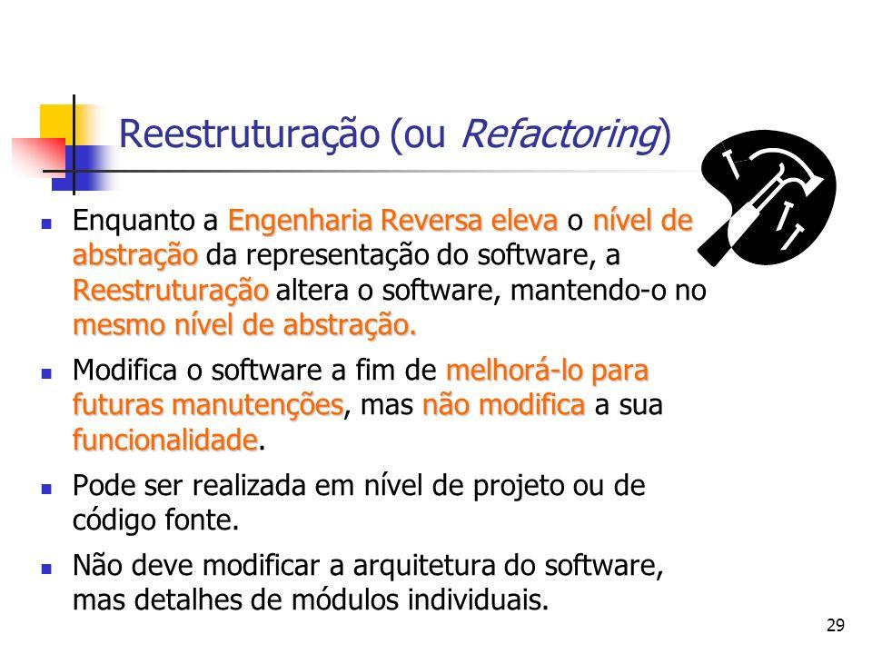 29 Reestruturação (ou Refactoring) Engenharia Reversaelevanível de abstração Reestruturação mesmo nível de abstração.
