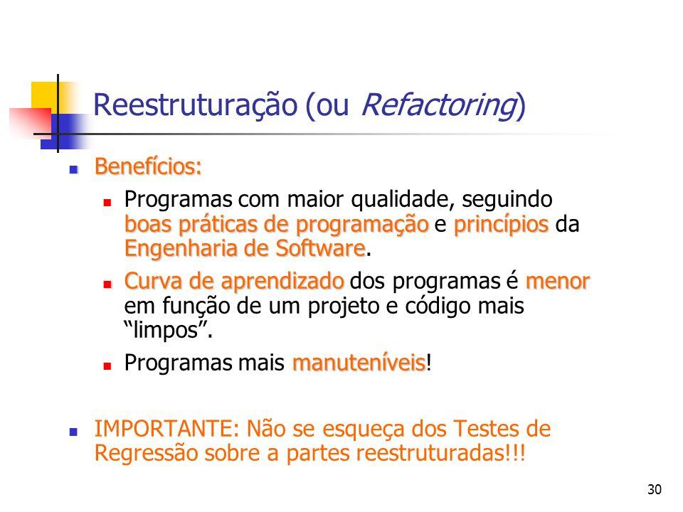 30 Reestruturação (ou Refactoring) Benefícios: Benefícios: boas práticas de programaçãoprincípios Engenharia de Software Programas com maior qualidade, seguindo boas práticas de programação e princípios da Engenharia de Software.