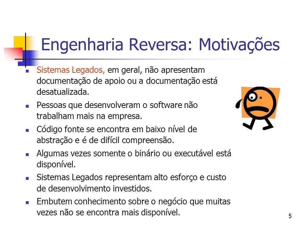 5 Engenharia Reversa: Motivações Sistemas Legados, em geral, não apresentam documentação de apoio ou a documentação está desatualizada.