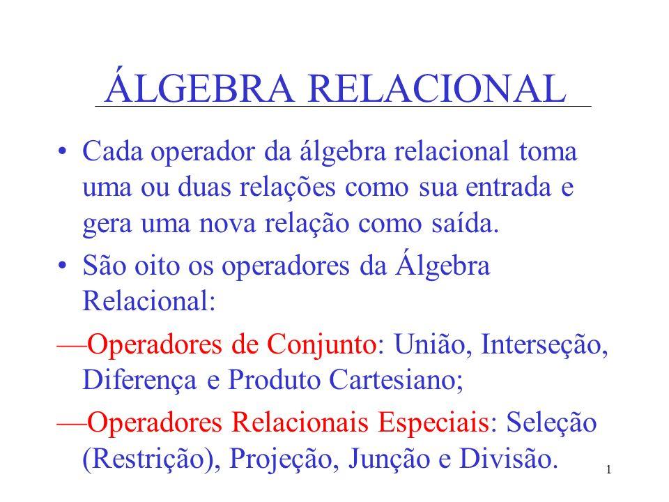 1 ÁLGEBRA RELACIONAL Cada operador da álgebra relacional toma uma ou duas relações como sua entrada e gera uma nova relação como saída. São oito os op