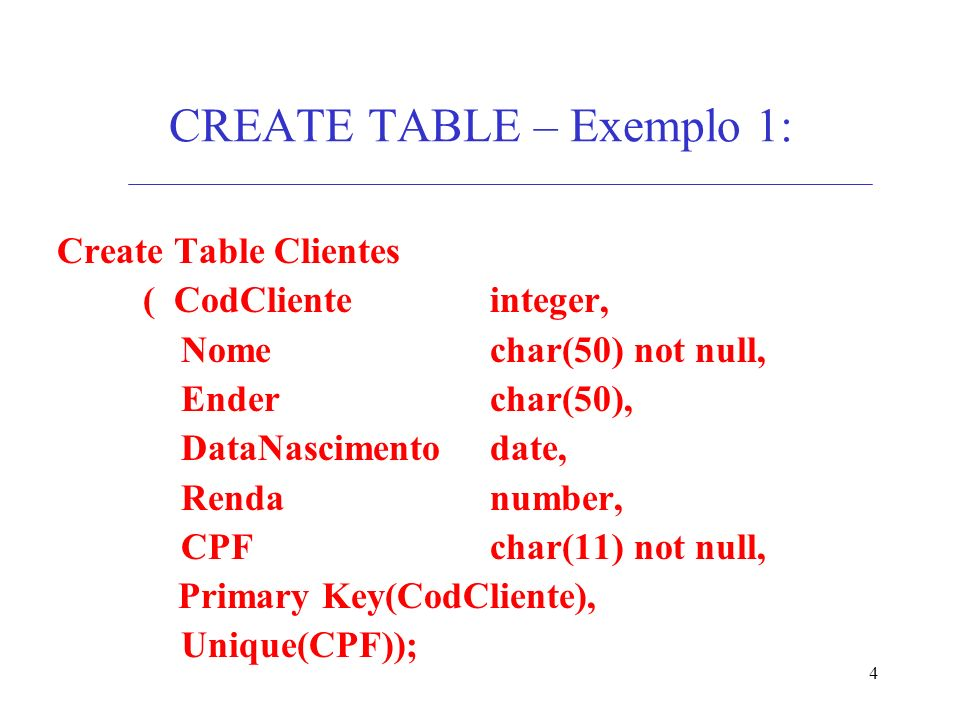 4 CREATE TABLE – Exemplo 1: Create Table Clientes ( CodClienteinteger, Nomechar(50) not null, Enderchar(50), DataNascimentodate, Rendanumber, CPFchar(11) not null, Primary Key(CodCliente), Unique(CPF));